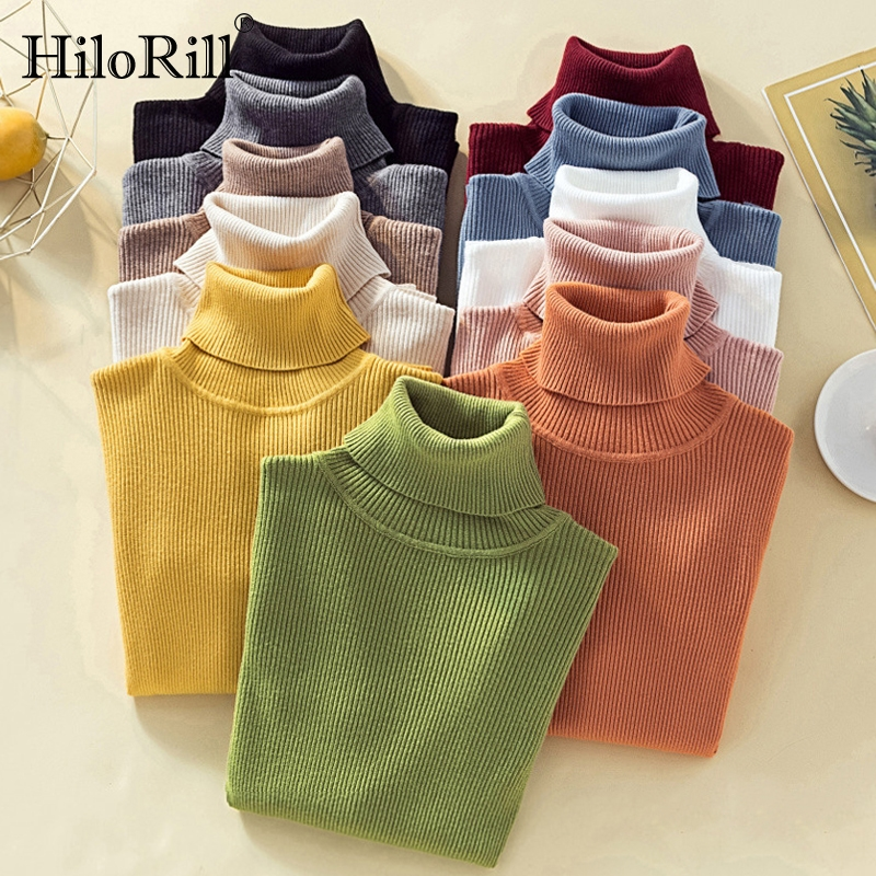 Womens Sweaters 2020 Winter Casual Turtleneck Solid Cashmere Pullover Top Long Sleeve Pure Jumper Autumn Knitted Slim Sweater