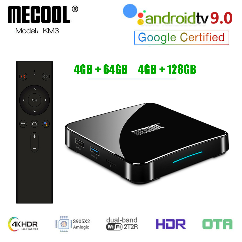 MECOOL KM3 ATV Android 9.0 décodeur 2.4G/5G double Wifi Amlogic S905X2 100M LAN 4GB RAM 64GB 128GB EMMC Tv Box KM9 Pro 4GB 32GB