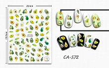 3D Nail Sticker Avocado Fruit Design Stickers for Nails Manicure Sticker Decals Decoration Nail Art Sticker Accessories(China)