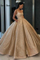 Spark Bling Gold Quinceanera Dresses Sequin Ball Gown Square Neck Prom Dresses With Pocket Puffy Sweet 16 Dress vestidos de 15