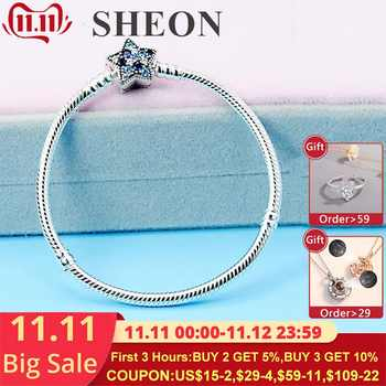 SHEON Sparkling Star Clasp Silver Snake Chain Bracelet Fit Original Pandora Charms for Women Fashion DIY Jewelry 16-21CM - DISCOUNT ITEM  35% OFF All Category