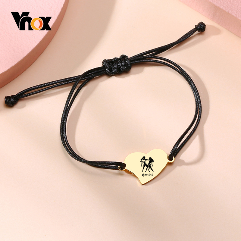 Vnox Customize Name Women Heart Charm Bracelets Personalize Constellation Adjustable Handmade Rope Chain Bracelet