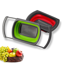 Folding Fruit Basket Square Retractable Handle Plastic Drain Water Filter Storage Wash Bowl Washing