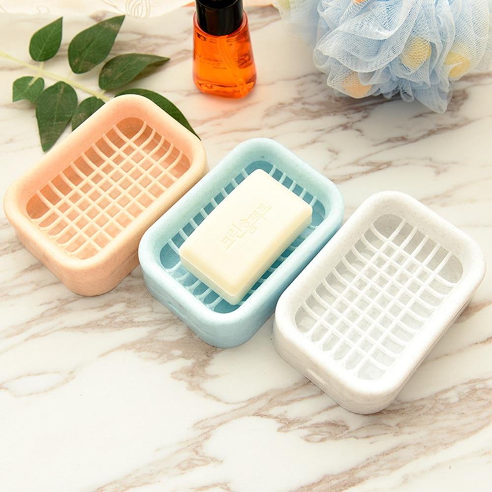 Bathroom Accessories Double Grid Drain Soap Box Soap Holder Soap Box Nordic Ins Style Soap Case Portable Soap Box Home Organizer