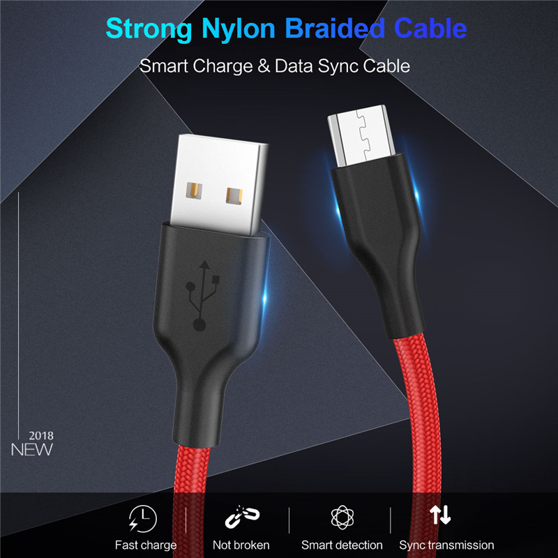 Micro USB Cable 2 4A Nylon Fast Charge USB Data Cable for Samsung Xiaomi Huawei LG Tablet Android Mobile Phone USB Charging Cord in Mobile Phone Cables from Cellphones Telecommunications