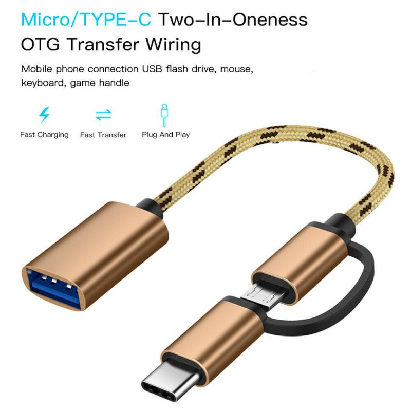 2 In 1 USB 3.0 OTG Adapter Cable Type-C Micro USB To USB 3.0 Interface Converter For Cellphone Charging Cable Line Converters