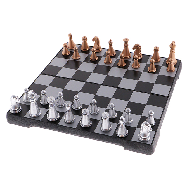 Jeu d'échecs de voyage portatif bronze argent 5