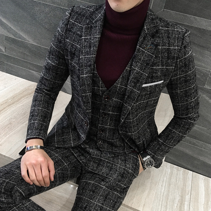 2020 New Winter Mens Suit British Style Single Breasted Blazer Coat Straight Pants 3 Piece Set Slim Fit Plaid Wedding Party Suit