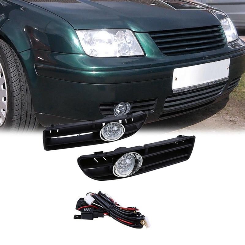 Car LED Foglamp Front Grille For-VW Bora Jetta MK4 1999-2007 1 Pair