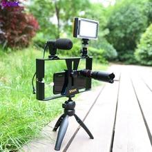 SANYK 5 in 1 Telefon Stabilisator Vlogging Live Broadcast FÜHRTE Selfie Licht Smartphone Video Rig Kits Mit Mikrofon