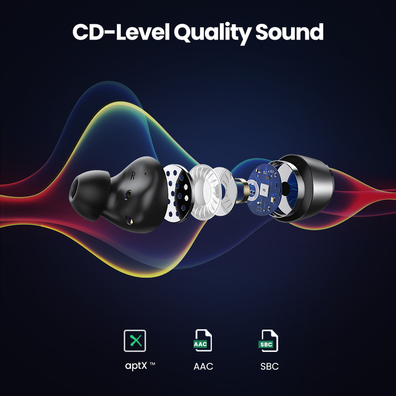 UGREEN HiTune TWS Headphones Wireless Bluetooth Earphones aptX with Qualcomm Chip True Wireless Stereo Earbuds Headset Headphone 2