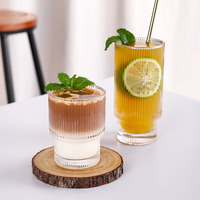 Stripe Origami Style tazza di vetro tè trasparente tazza di caffè tazza di birra tazza di vetro resistente al calore tazza di succo di latte creativa bicchieri