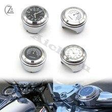 Acz universal motocicleta cromo à prova dwaterproof água 7/8 guiador montar temp termômetro relógio acessórios do motor