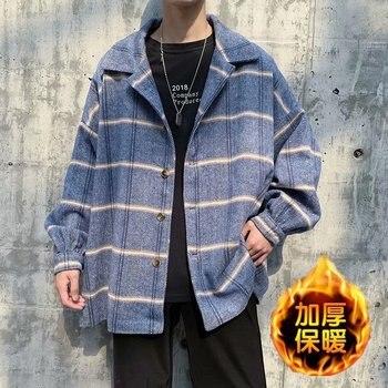 Winter New Thick Woolen Coat Men's Fashion Retro Casual Woolen Jacket Man Streetwear Wild Loose Tartan Woolen Coat Male M-2XL