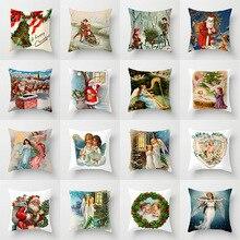 Nuevo Ángeles de Navidad cojín de Santa Claus cubierta caliente poliéster Vintage pintura de aceite ángeles Fundas de cojín para sofá sillas almohadas