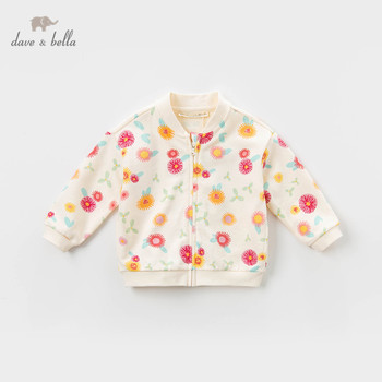 DBA12575 dave bella spring baby girls cute floral pockets zipper coat children tops fashion infant toddler outerwear image