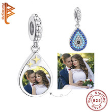 Design unico Blu Scintillante CZ di Cristallo di Lucky Eye Branelli di Fascino per Le Donne di Cerimonia Nuziale Del Partito Su Ordinazione Photo Personalizzato Regalo Dei Monili(China)