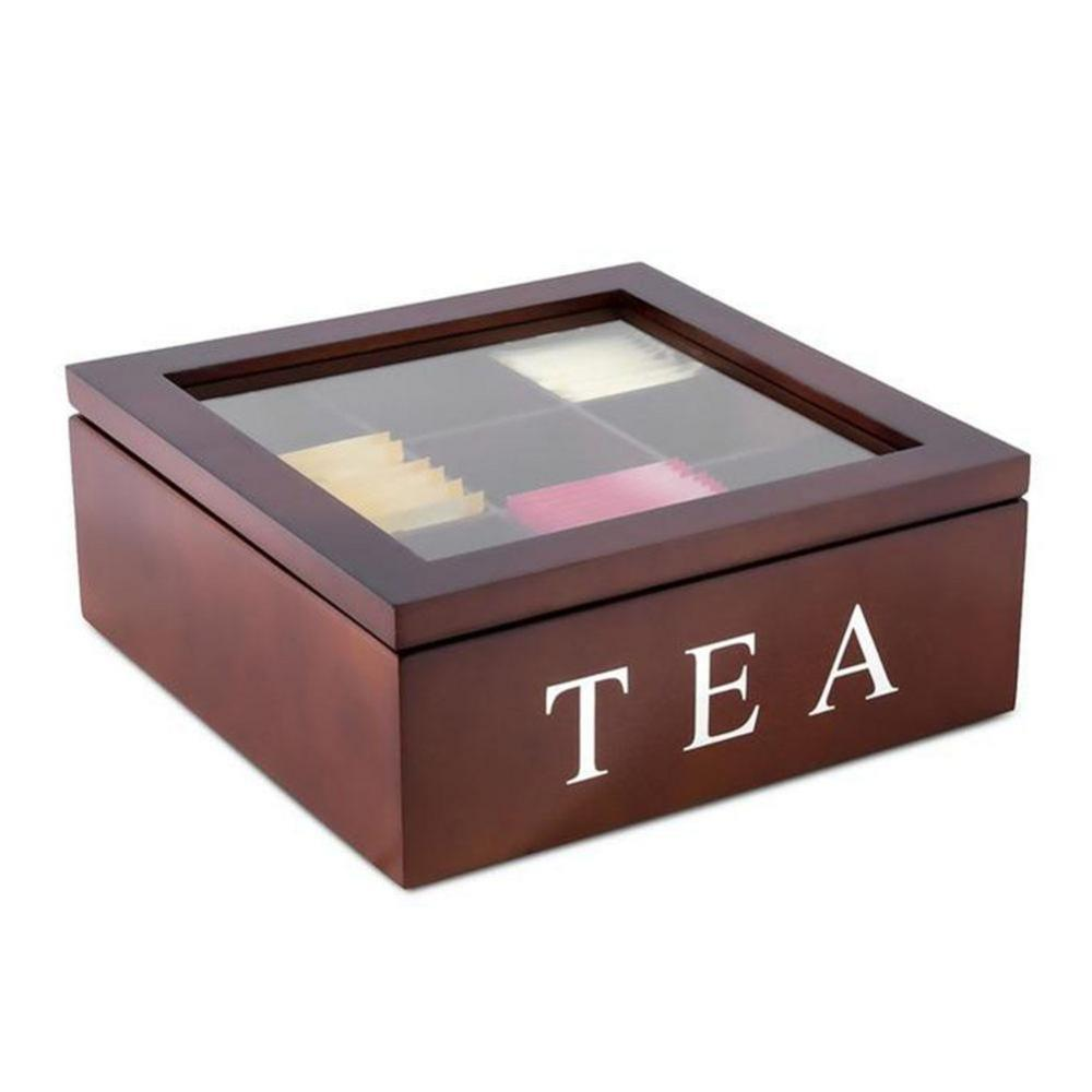 9-Compartment Tea Box Green Tea Organizer Storage Case Tea Coffee Dried Flowers Protect Storage Boxes Tea Container