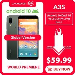 UMIDIGI A3S Android 10 Global Band 3950mAh Dual Achteruitrijcamera 5.7 Smartphone 13MP Selfie Triple Slots Dual 4G VoLTE Celular