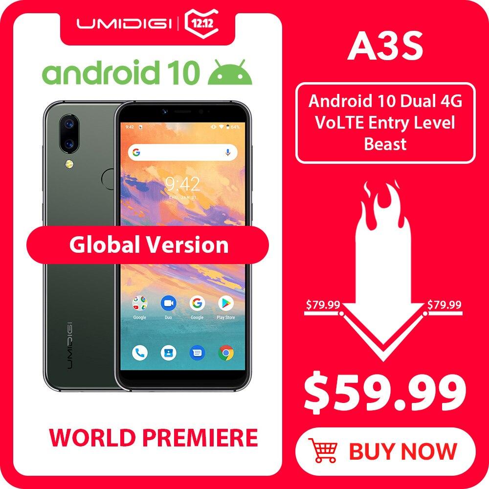 UMIDIGI A3S Android 10 Global banda 3950mAh Dual cámara trasera 5,7