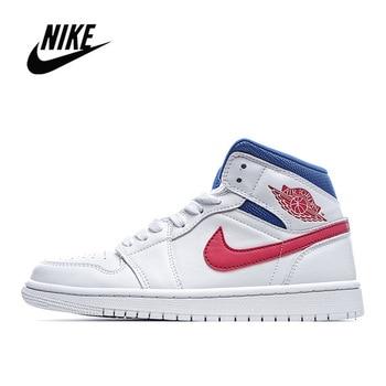 Фото - Nike Air Jordan 1 Mid Men's Basketball Sneakers Unisex Women Breathable Air Jordan 1 Low Travis Scott BQ6472 кроссовки air jordan 11 retro low