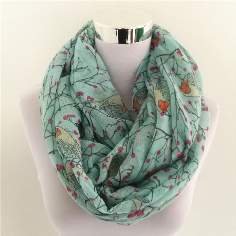 New Fashion Warm Ring Scarf For Women Soft Loop Scarf Birds Print Infinity Scarves Flower Snood Circle Scarves