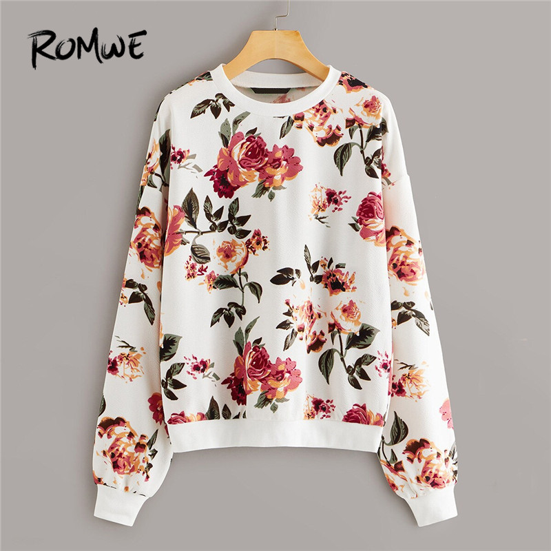 ROMWE Drop Shoulder Floral Print Women Sweatshirt Casual Round Neck Pullover Hoodie Fall 2019 Clothes Long Sleeve Ladies Tops
