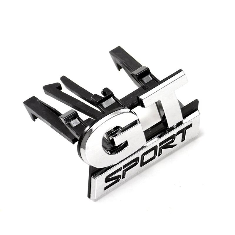 New Car-styling Sticker ABS Chrome GT SPORT Front Grille Badge Emblem Sticker For Volkswagen VW Polo Golf Passat B5 Touran Bora