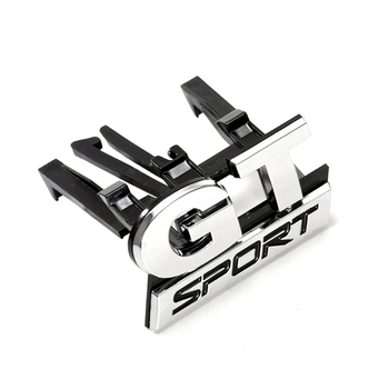 цена на New Car-styling Sticker ABS Chrome GT SPORT Front Grille Badge Emblem Sticker for Volkswagen VW Polo Golf Passat B5 Touran Bora