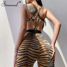 Simenual Tiger Print Backless Women Jumpsuits Sporty Fitness Workout Fashion Rompers Active Wear Sleeveless Criss Cross Jumpsuit
