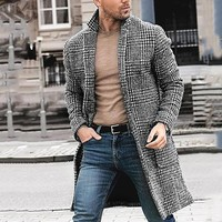 Korean men's casual winter fashion warm long sleeved houndstooth gentleman pockets cotton long coat jacket Куртка мужская