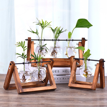 Wood Vase Glass Vase Hydroponic Plant Vases Bonsai Terrarium Table Desktop Bonsai Flower Pot Hanging Pots Home Decor Wooden Tray