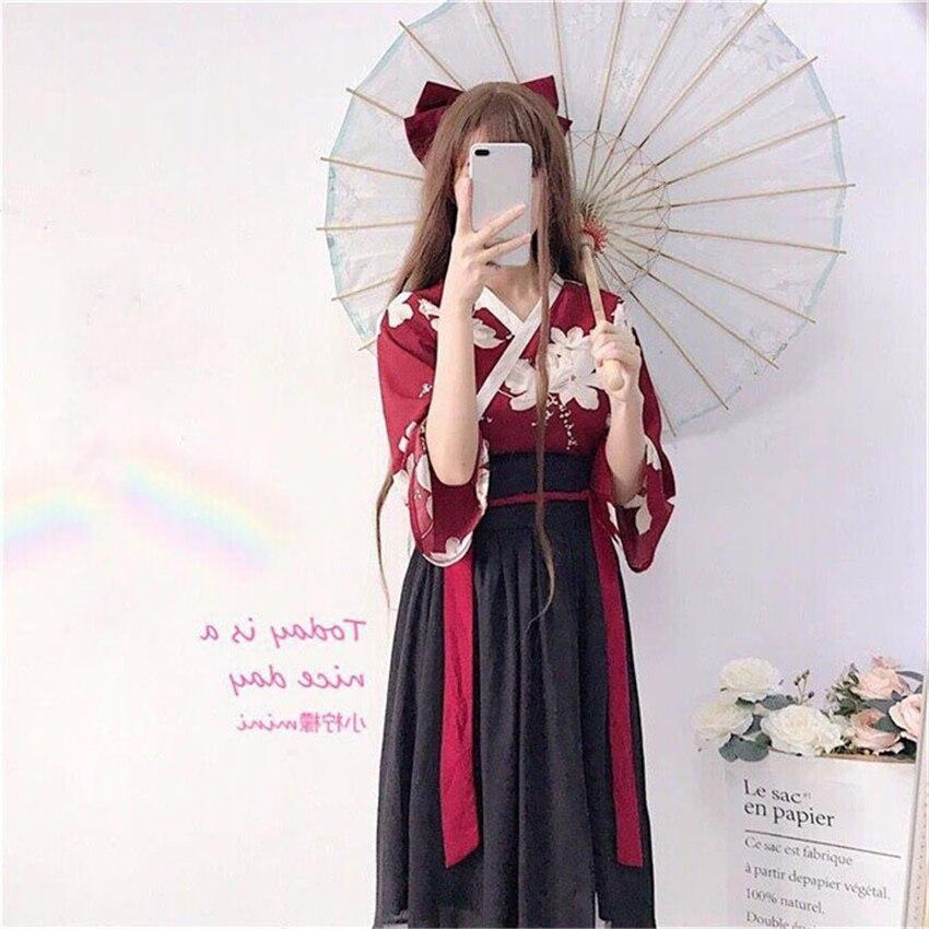 Kimono Floral Japanischen Stil Kawaii Mädchen Yukata Sommer Top Röcke Outfits Kleid für Frauen Vintage Party Haori Asiatische Kleidung