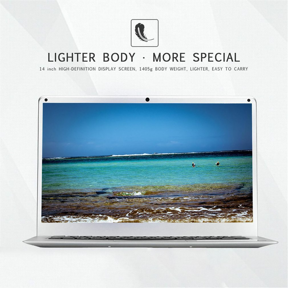 14 Inch Cheap Laptop Notebook Windows 10 Pc Computer 16:9 Ultra-Thin Small Portable Computer 1.3MP Camera 10000mah Battery 1