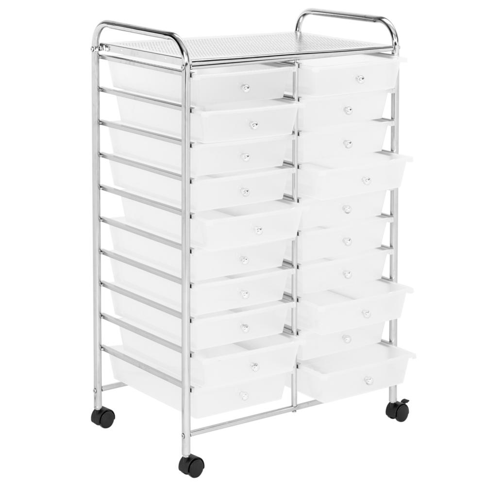 20 Drawers Rolling Cart With 4 Universal Wheels For Home Office And School