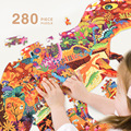 280 шт. мир динозавров Детские пазлы материалы montessori игрушка Монтессори Обучающие деревянные игрушки для детей детские головоломки oyuncak