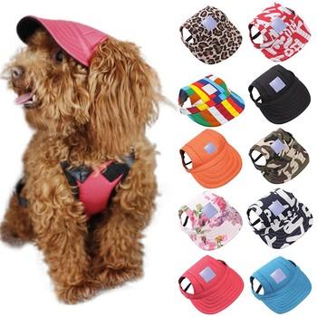Czapka dla psa z otworami na uszy lato płótno czapka z daszkiem dla małych zwierząt domowych akcesoria zewnętrzne piesze wycieczki produkty dla zwierzaka domowego Drop shipping tanie i dobre opinie 100 bawełna Drukuj Dogs piece 0 1kg (0 22lb ) 8cm x 10cm x 8cm (3 15in x 3 94in x 3 15in)