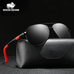 BISON DENIM 2020 New Aluminium Magnesium Sunglasses Polarized UV400 Men's Sunglasses Driving Fishing Vintage Sunglasses for Men