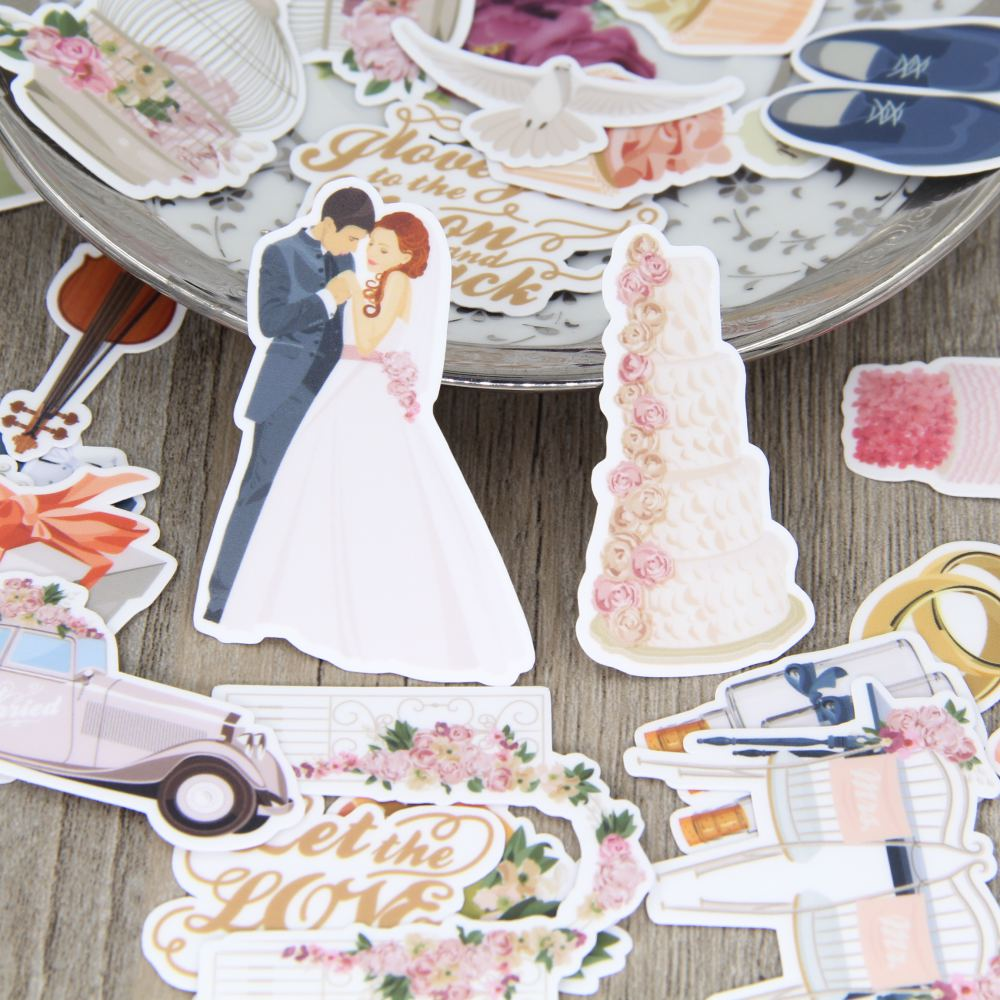 30PCS Beautiful Wedding Theme Stickers Crafts And Scrapbooking Stickers Book Student Label Decorative Sticker DIY Stationery