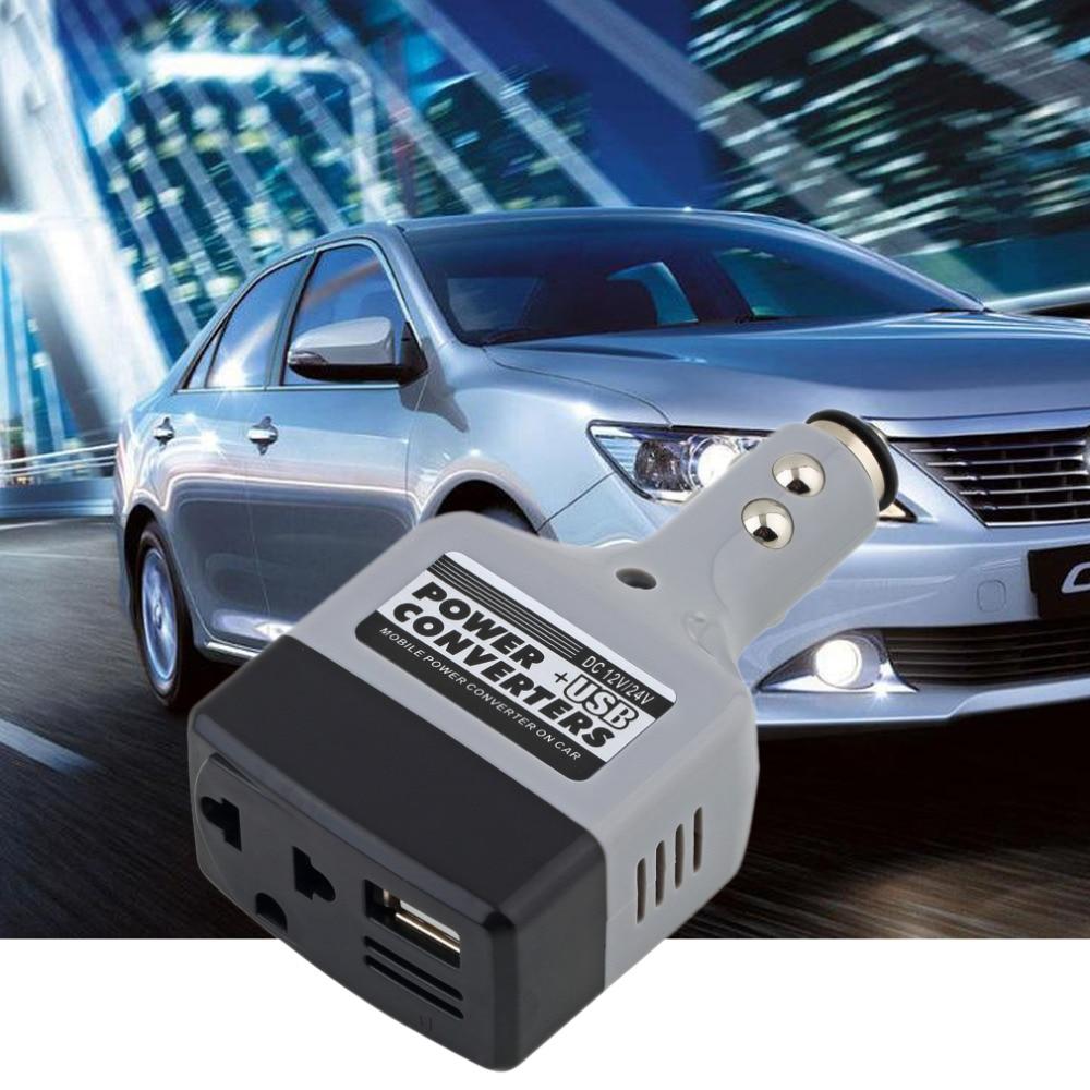 Car Mobile Power Inverter Adapter DC 12 / 24V To DC 220V / USB 6V Auto Car Power Converter Charger Used For All Mobile Phone Hot