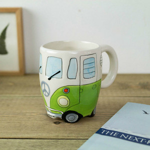 Image 5 - British Hand painted Ceramic Cup Creative Cartoon Bus Cup Personality Retro Car Mug Breakfast Milk Coffee Child Gift Cup