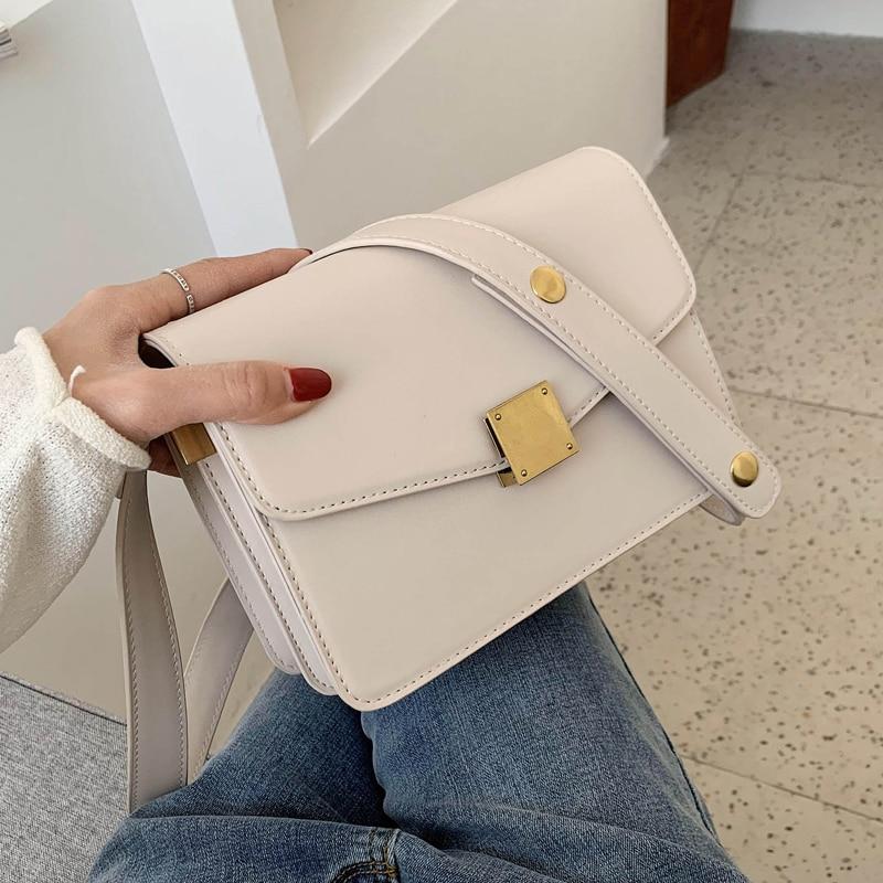 Vintage Square Crossbody Bag 2020 Fashion New High Quality PU Leather Women's Designer Handbag Lock Shoulder Messenger Bag