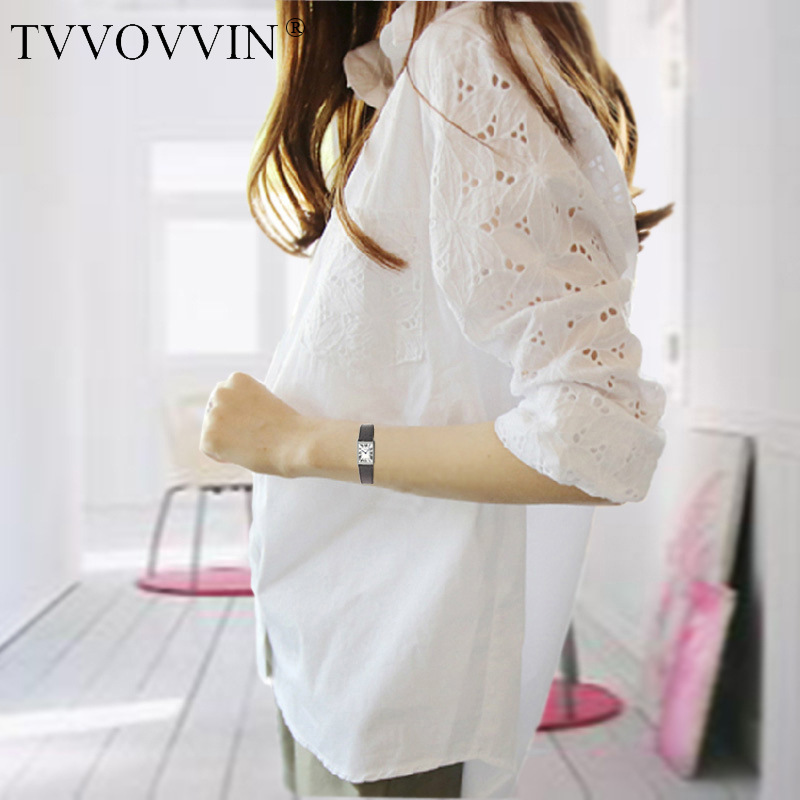 2020 Summer New Fashion Womens Hollow Out Full Sleeve White Shirt Tops Plus Size Loose Casual Girl Female Blouse big 5XL E126