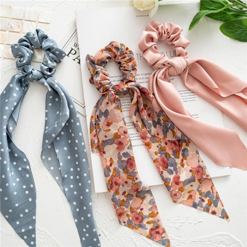 Hair-Ribbon Ponytail Scarf Scrunchies Satin Silk Floral-Print Elastic Fashion Women