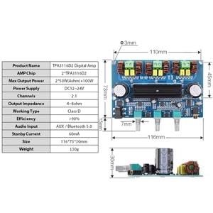 Image 5 - 2*50 Вт + 100 Вт Bluetooth 5,0, двойной усилитель мощности TPA3116D2, сабвуфер, плата 2,1 канала, TPA3116, аудио, стерео, эквалайзер, AUX Amp