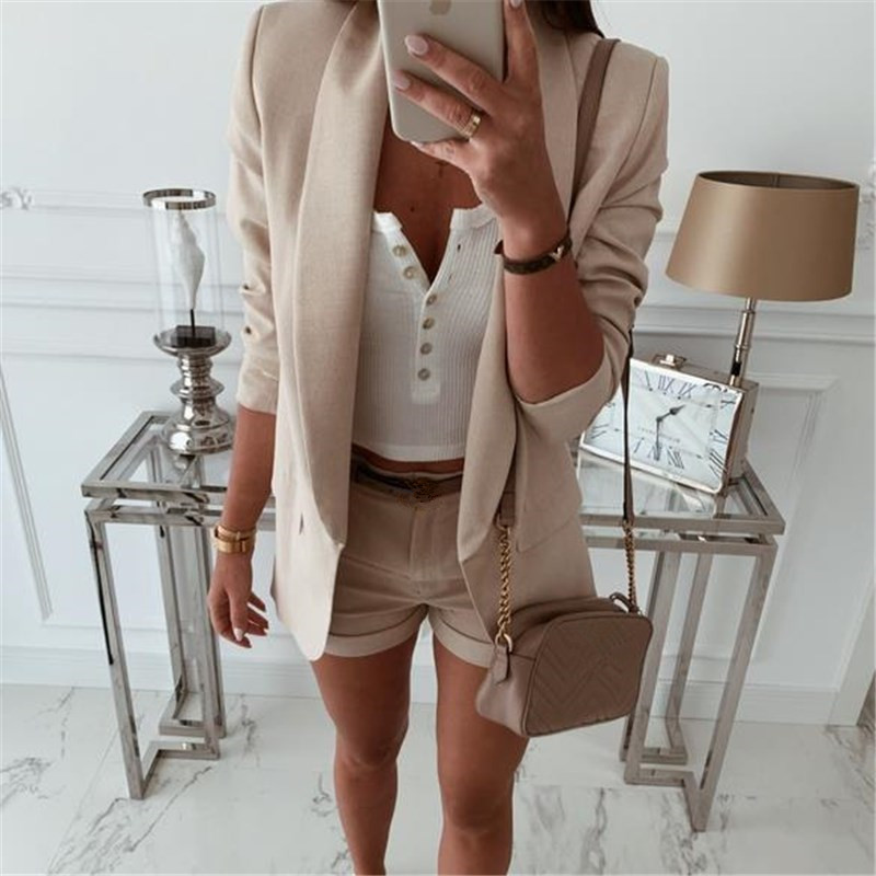 Women Blazers and Jackets Elegant Office Suits for Women Formal Business Work Coat Tops Ladies Outwear Clothing White Black
