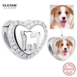 ELESHE Personalized Custom Photo 925 Sterling Silver Crystal Heart Dog Charms Fit Pandora Bracelet Original DIY Beads Jewelry