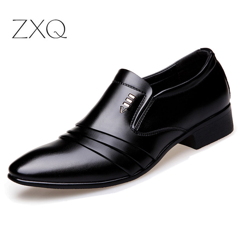 Luxury Brand PU Leather Fashion Men Business Dress Loafers Pointy Black Shoes Oxford Breathable Formal Wedding
