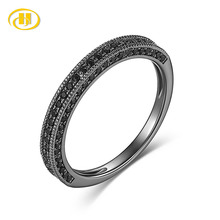 Hutang 100% Genuine 925 Sterling Silver Forever Clear Black CZ Circle Round Finger Rings for Women Jewelry Christmas Gift цена