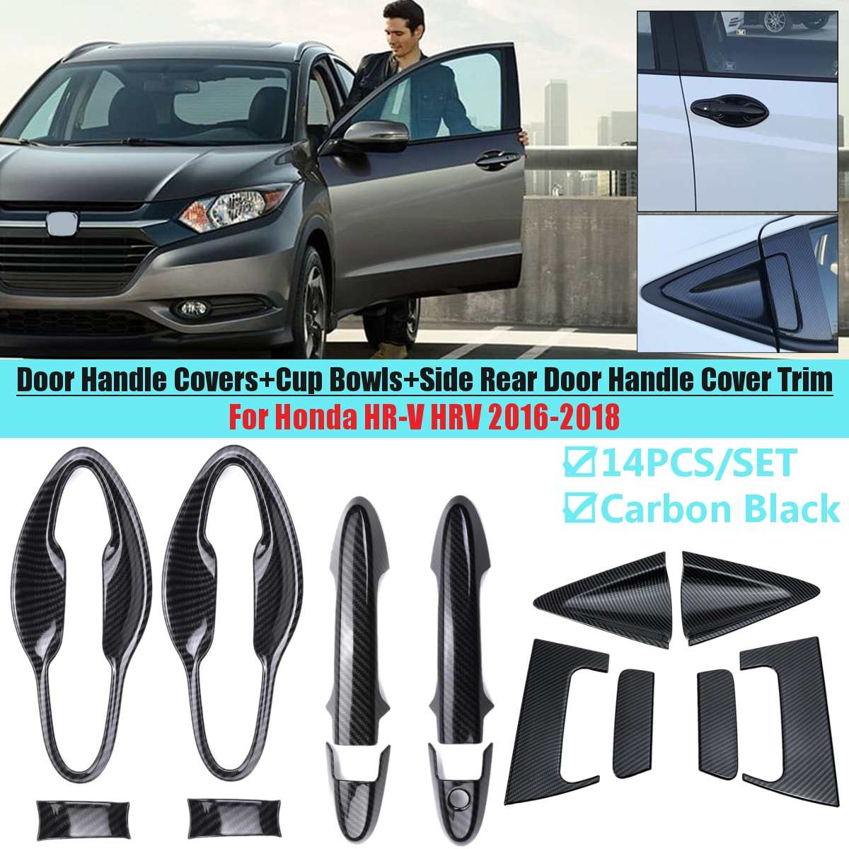 Car Front Rear Door handle Chrome Door Handle Covers + Cup Bowls Sticker For <font><b>Honda</b></font> HR-V <font><b>HRV</b></font> 2016 2017 2018 Styling <font><b>Accessories</b></font> image